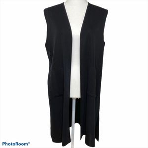 Exclusively Misook Black Long Vest Duster